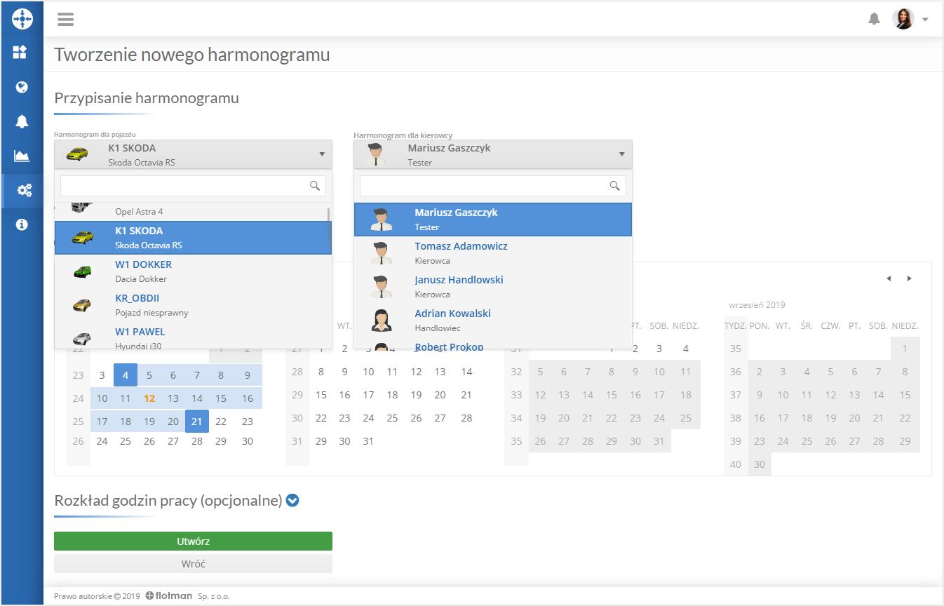 Harmonogramy w aplikacji Flotman – kompleksowe zarządzanie czasem pracy kierowców